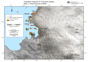 Australian Antarctic Air Transport System, Map 2: Casey Runway location