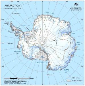 Antarctica : 1000 metre contours