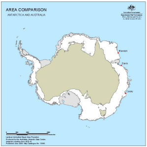 Comparison Map of Antarctica and Australia
