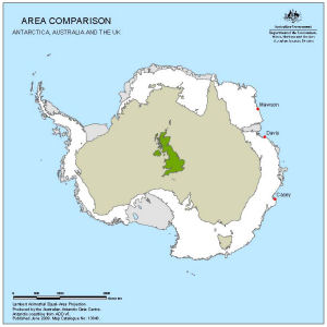 Area comparison - Antarctica, Australia and the UK