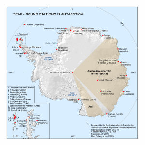 Antarctica Map Catalogue AADC - Antarctic research stations map