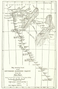 Map showing track of the Southern sledging party from the main base [Commonwealth Bay]