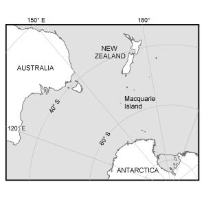 Location of Macquarie Island in relation to Australia and Antarctica [Black and white]