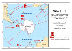 Antarctica : Maritime and Aeronautical Rescue Coordination Centres (RCCs) and Maritime Search and Rescue Region (SRR) boundaries