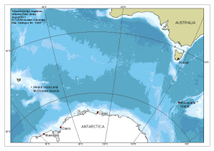 Australia to antarctica map catalogue aadc australia to antarctica showing the locations of australias year round stations gumiabroncs Choice Image