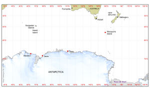Base map of Australia to Antarctica