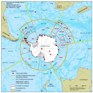 Antarctica and the southern ocean map catalogue aadc antarctica and the southern oceanbr ccamlr statistical reporting subarea boundaries and fao fishing gumiabroncs Images