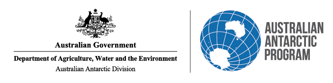 Logo for Australian Government Department of the Environment and Energy; Australian Antarctic Division.