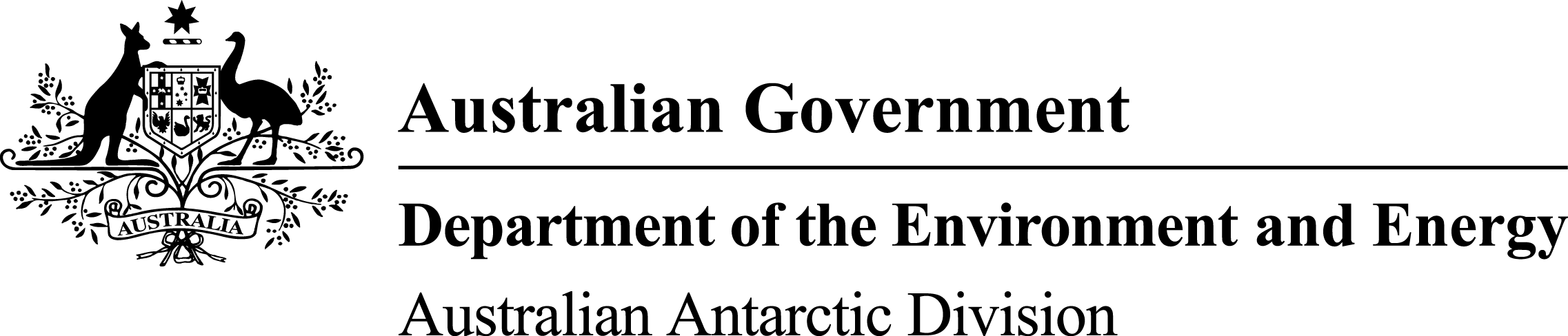 Logo for Australian Government Department of the Environment; Australian Antarctic Division.